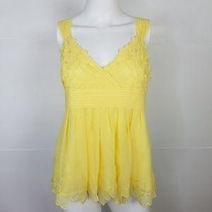 🌼Antonio Melani Yellow blouse flower lace detail